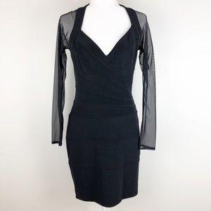 Vintage tadashi shoji body con mesh dress 0735